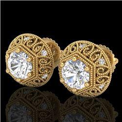 1.31 ctw VS/SI Diamond Solitaire Art Deco Stud Earrings 18k Yellow Gold - REF-236F4M