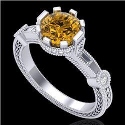 1.71 ctw Intense Fancy Yellow Diamond Art Deco Ring 18k White Gold - REF-345Y5X