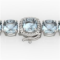 35 ctw Aquamarine & Micro VS/SI Diamond Bracelet 14k White Gold - REF-304R8K