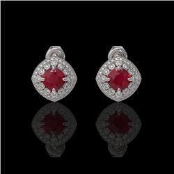 4.99 ctw Certified Ruby & Diamond Victorian Earrings 14K White Gold - REF-124M8G