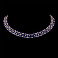 43.07 ctw Sapphire & Diamond Necklace 10K Rose Gold - REF-527X3A