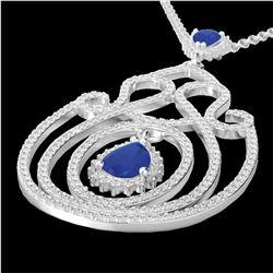3.20 ctw Sapphire & Micro Pave Diamond Heart Necklace 14k White Gold - REF-212K8Y