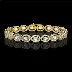 14.82 ctw Sky Topaz & Diamond Micro Pave Halo Bracelet 10k Yellow Gold - REF-263A6N