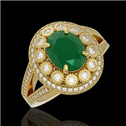 4.55 ctw Certified Emerald & Diamond Victorian Ring 14K Yellow Gold - REF-143W6H
