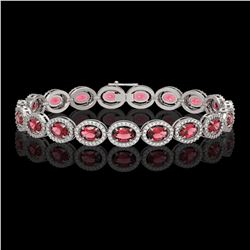 13.87 ctw Tourmaline & Diamond Micro Pave Halo Bracelet 10k White Gold - REF-309K3Y