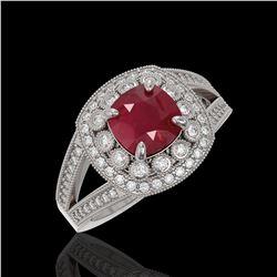 2.69 ctw Certified Ruby & Diamond Victorian Ring 14K White Gold - REF-103G3W