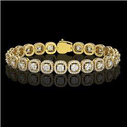 8.83 ctw Cushion Cut Diamond Micro Pave Bracelet 18K Yellow Gold - REF-770F8M