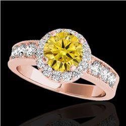 1.85 ctw Certified SI/I Fancy Intense Yellow Diamond Ring 10k Rose Gold - REF-211F4M