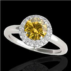 1.43 ctw Certified SI/I Fancy Intense Yellow Diamond Ring 10k White Gold - REF-197G8W