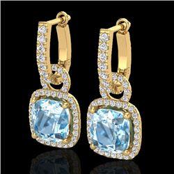 7 ctw Sky Blue Topaz & Micro Pave VS/SI Diamond Earrings 18k Yellow Gold - REF-98A2N