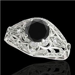 1.36 ctw Certified VS Black Diamond Solitaire Antique Ring 10k White Gold - REF-56Y6X