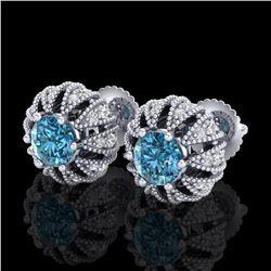 2.01 ctw Fancy Intense Blue Diamond Art Deco Earrings 18k White Gold - REF-210H9R