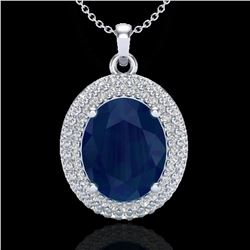 4.50 ctw Sapphire & Micro Pave VS/SI Diamond Necklace 18k White Gold - REF-120W9H