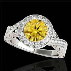 1.75 ctw Certified SI/I Fancy Intense Yellow Diamond Ring 10k White Gold - REF-327M3G