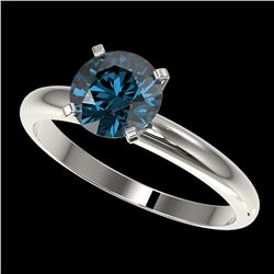 1.55 ctw Certified Intense Blue Diamond Engagment Ring 10k White Gold - REF-147N3F