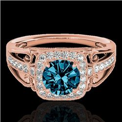1.3 ctw SI Certified Fancy Blue Diamond Solitaire Halo Ring 10k Rose Gold - REF-124W2H