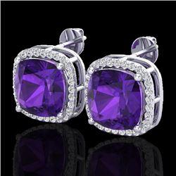 12 ctw Amethyst & Micro Pave VS/SI Diamond Earrings 18k White Gold - REF-88R2K