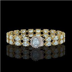 14.44 ctw Aquamarine & Diamond Bracelet 14K Yellow Gold - REF-263K6Y