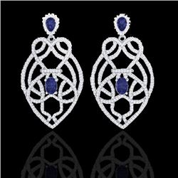 7 ctw Tanzanite & Micro VS/SI Diamond Heart Earrings 14k White Gold - REF-381H8R
