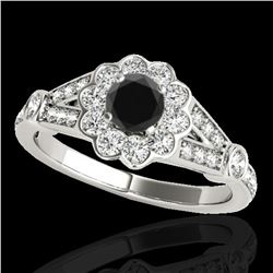 1.9 ctw Certified VS Black Diamond Solitaire Halo Ring 10k White Gold - REF-64Y4X