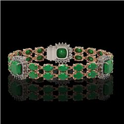21.83 ctw Emerald & Diamond Bracelet 14K Rose Gold - REF-294F4M