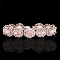 23 ctw Morganite & Micro Pave VS/SI Diamond Bracelet 10k Rose Gold - REF-527K3Y