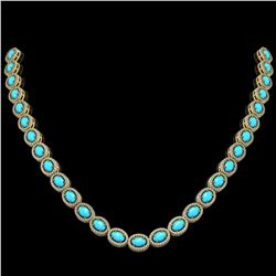 25.51 ctw Turquoise & Diamond Micro Pave Halo Necklace 10k Yellow Gold - REF-500K8Y