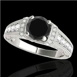 1.5 ctw Certified VS Black Diamond Solitaire Antique Ring 10k White Gold - REF-58A2N