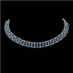 61.73 ctw London Topaz & Diamond Necklace 10K White Gold - REF-527F3M
