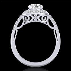 1.7 ctw VS/SI Diamond Solitaire Art Deco Ring 18k White Gold - REF-436H4R