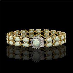 13.69 ctw Opal & Diamond Bracelet 14K Yellow Gold - REF-263H6R