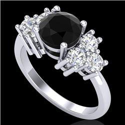 2.1 ctw Fancy Black Diamond Engagment Ring 18k White Gold - REF-125N5F