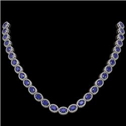 34.11 ctw Sapphire & Diamond Micro Pave Halo Necklace 10k White Gold - REF-672K8Y