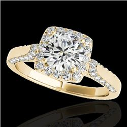 1.5 ctw Certified Diamond Solitaire Halo Ring 10k Yellow Gold - REF-204M5G