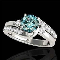 2 ctw SI Certified Fancy Blue Diamond Bypass Solitaire Ring 10k White Gold - REF-204G5W