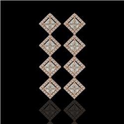 5.31 ctw Princess Cut Diamond Micro Pave Earrings 18K Rose Gold - REF-733N8F