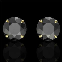 4 ctw Black Diamond Designer Earrings 18k Yellow Gold - REF-125X5A