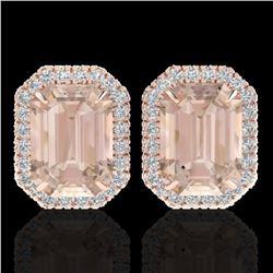8.40 ctw Morganite & Micro Pave VS/SI Diamond Earrings 14k Rose Gold - REF-202H8R