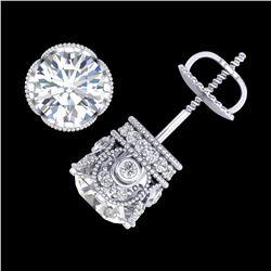 3 ctw VS/SI Diamond Solitaire Art Deco Stud Earrings 18k White Gold - REF-586H8R