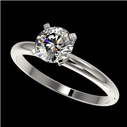 1.01 ctw Certified Quality Diamond Engagment Ring 10k White Gold - REF-124R4K