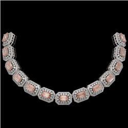 52.65 ctw Morganite & Diamond Victorian Bracelet 14K White Gold - REF-1818K4Y
