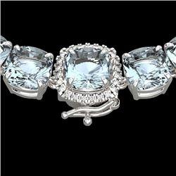 87 ctw Aquamarine & Diamond Micro Eternity Necklace 14k White Gold - REF-1345H5R