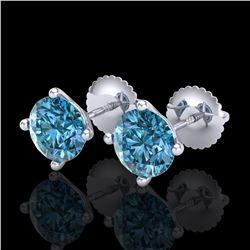 2 ctw Fancy Intense Blue Diamond Art Deco Earrings 18k White Gold - REF-231K8Y
