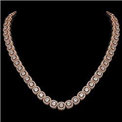 20.73 ctw Cushion Cut Diamond Micro Pave Necklace 18K Rose Gold - REF-1807G9W