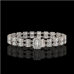 13.04 ctw Emerald Cut & Oval Diamond Bracelet 18K White Gold - REF-1261F9M