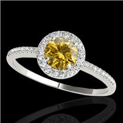 1.2 ctw Certified SI/I Fancy Intense Yellow Diamond Ring 10k White Gold - REF-177A3N