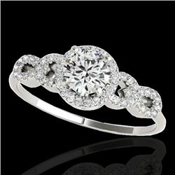 1.33 ctw Certified Diamond Solitaire Ring 10k White Gold - REF-190R9K