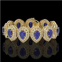 56.04 ctw Sapphire & Diamond Victorian Bracelet 14K Yellow Gold - REF-1418W2H
