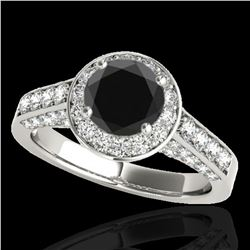 2.56 ctw Certified VS Black Diamond Solitaire Halo Ring 10k White Gold - REF-90Y2X