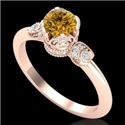 1 ctw Intense Fancy Yellow Diamond Art Deco Ring 18k Rose Gold - REF-134X5A